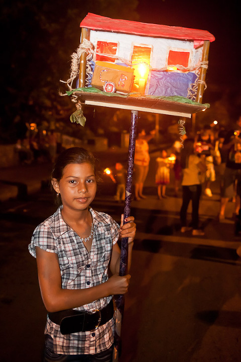 Girl with farol at parade in Costa Rica