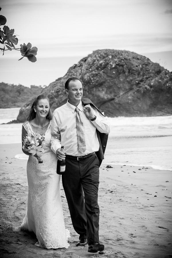 Classy wedding photo on beach in Manuel Antonio, Costa Rica