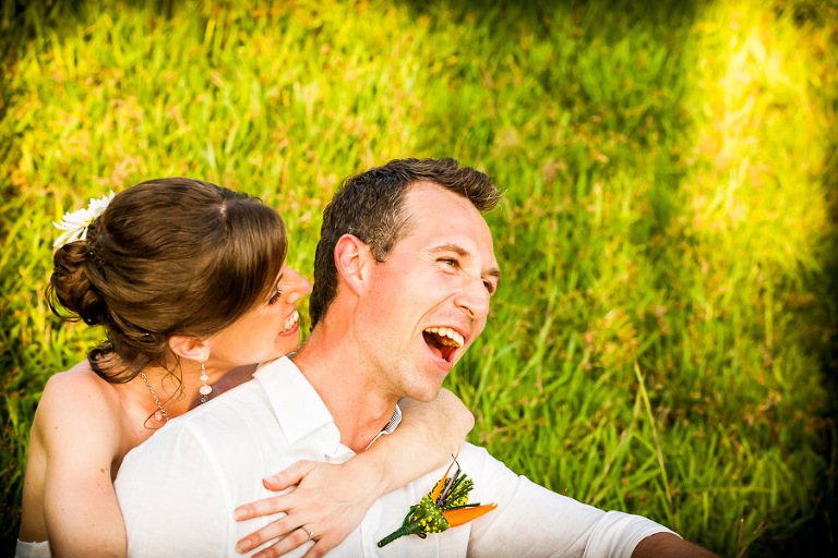 Wedding couple having fun on beach in Manuel Antonio Costa Rica