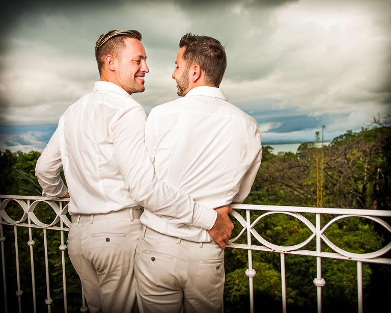 Wedding couple overlooking jungle in Costa Rica