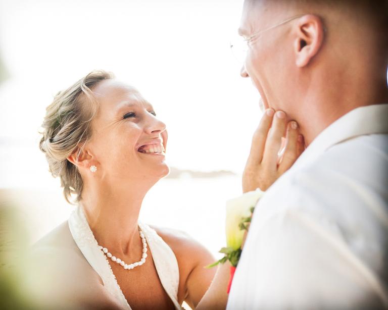 Intimate wedding ceremony on beach in Costa Rica.