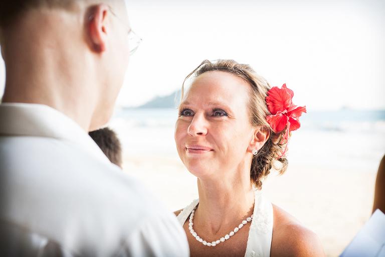 Bride looking at groom at wedding in Manuel Antonio Costa Rica.