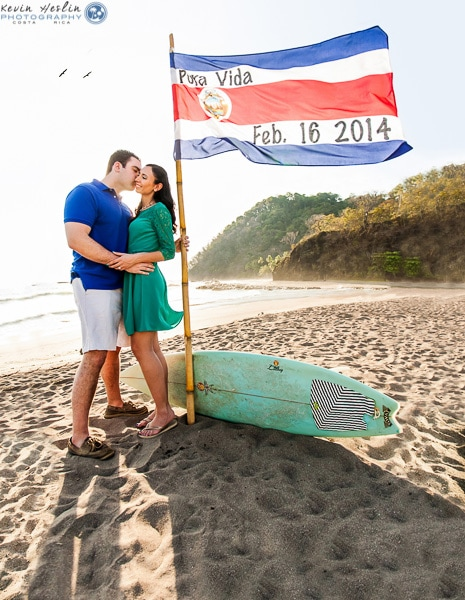wedding invitations Costa Rican Flag with wedding date
