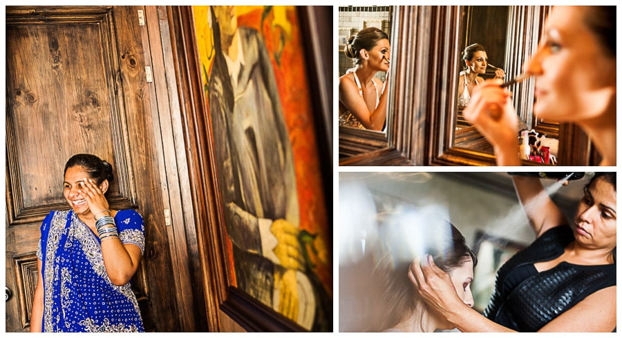 Images of bride getting ready for holiday wedding in Costa Rica