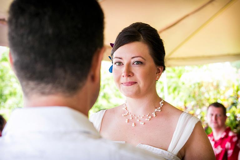 Bride at ceremony in Costa Rica