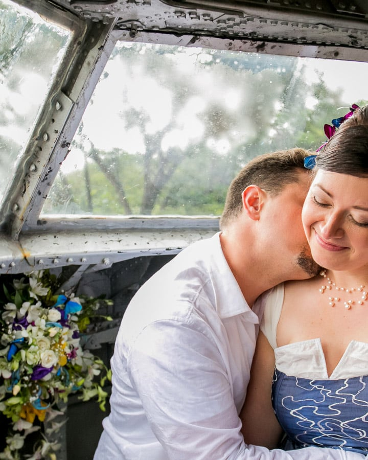 Wedding couple in Cockpit of plane
