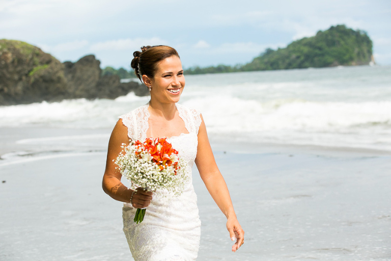 Bride on beach in Costa Rica