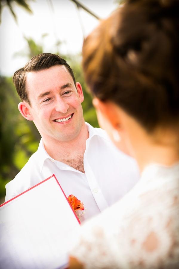 Groom during wedding ceremony in Manuel Antonio