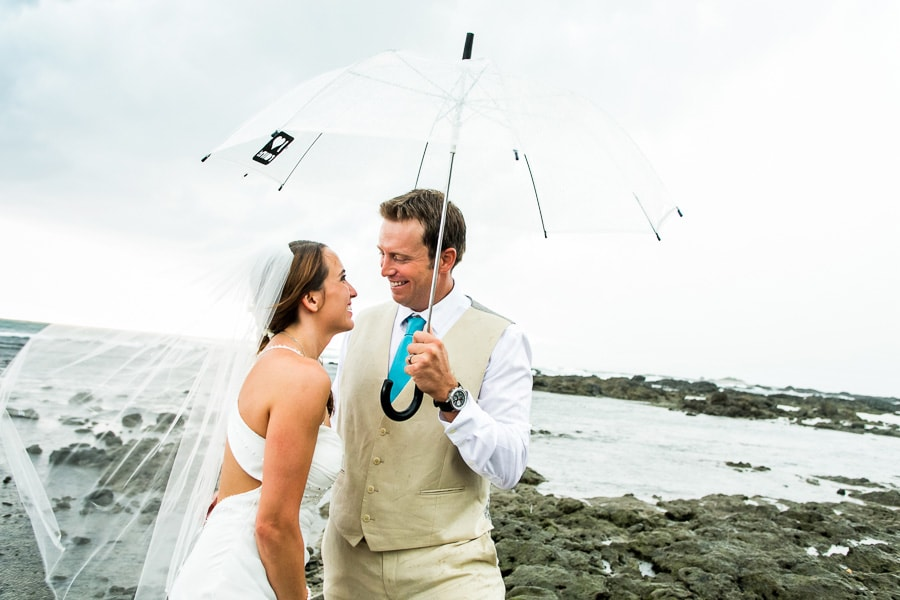 Rain at wedding in Costa Rica.