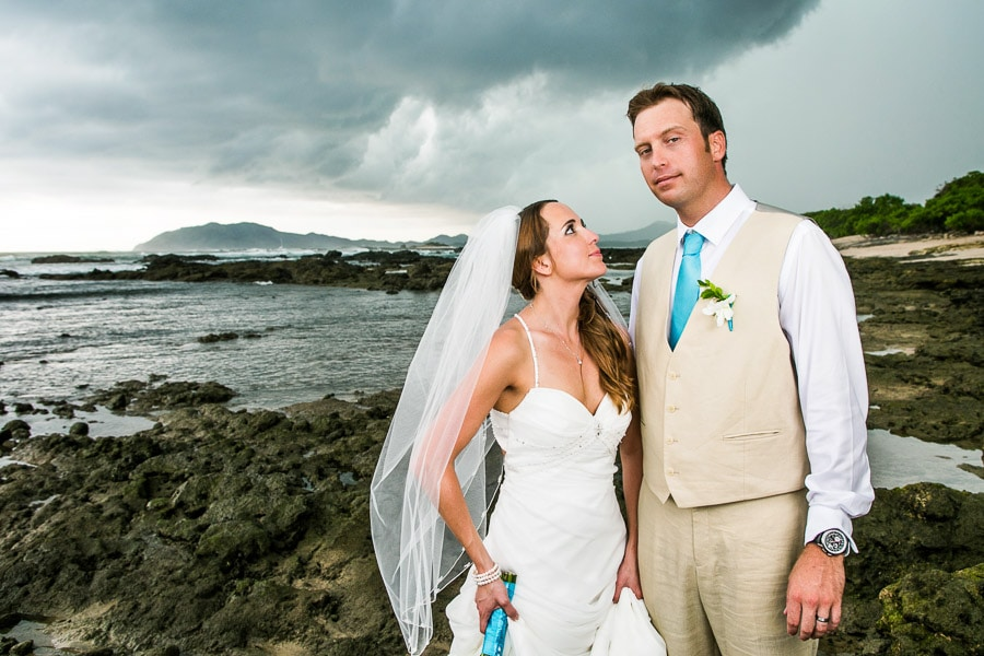 Bride and groom on beach in Costa Rica.