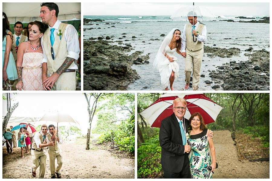 Rainstorm hits during wedding in Costa Rica.