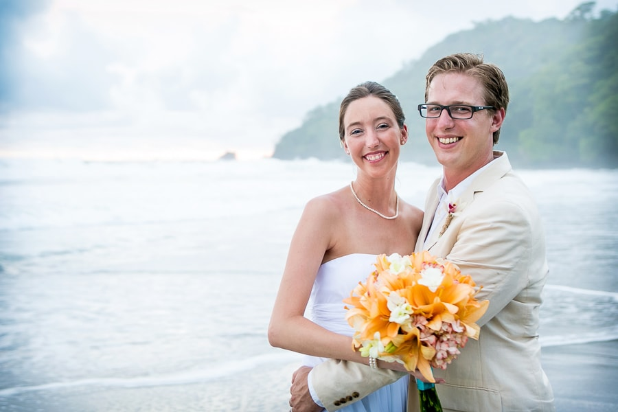 Wedding couple on beach in Costa Rica.