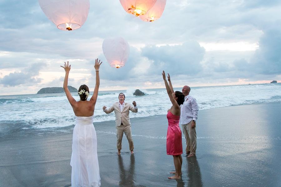 Sky lanterns at wedding