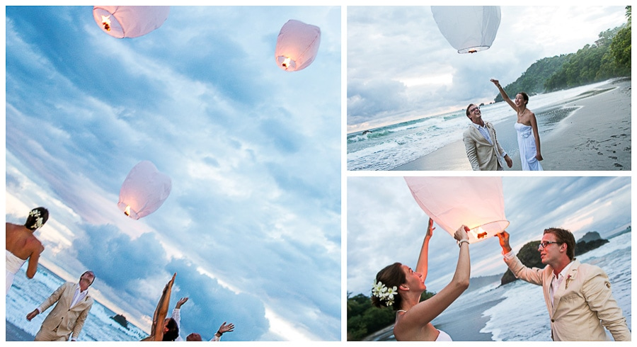 Sky wedding lanterns released at beach