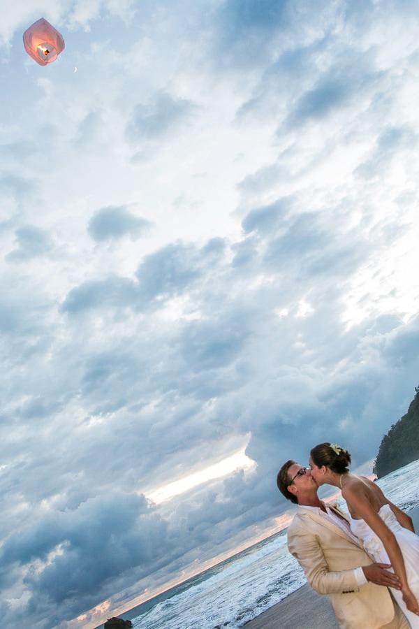 Sky wedding lanterns at Manuel Antonio beach.