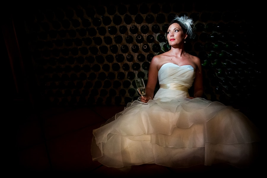 Photo of bride in wine cellar in Costa Rica