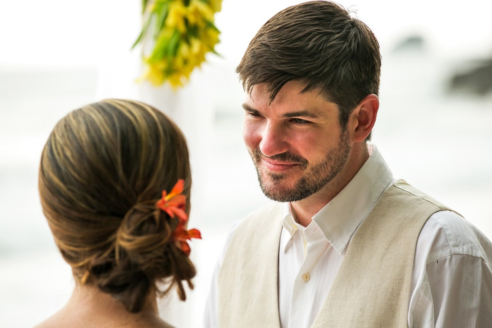 Groom at beach wedding ceremony
