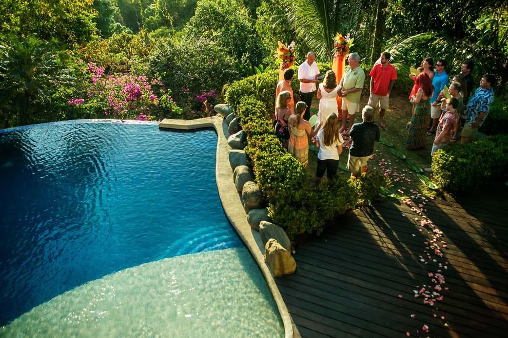 overhead view of a villa wedding