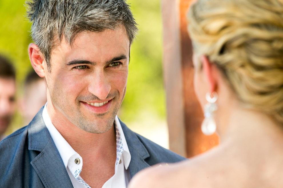 Wedding ceremony on beach.