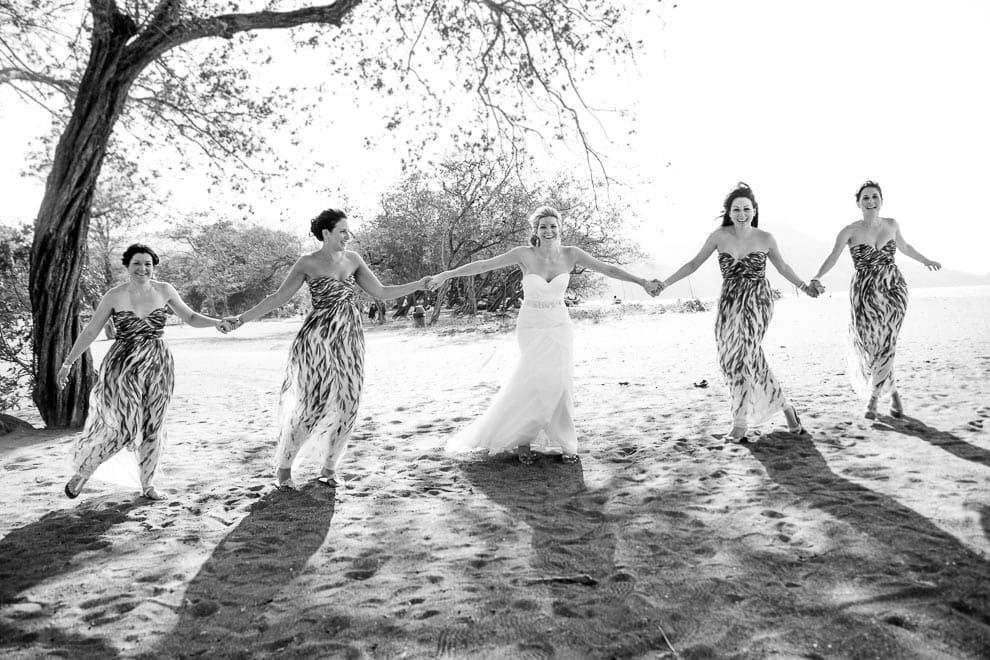 wedding party on beach.