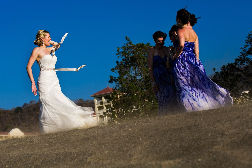 Wind at beach wedding