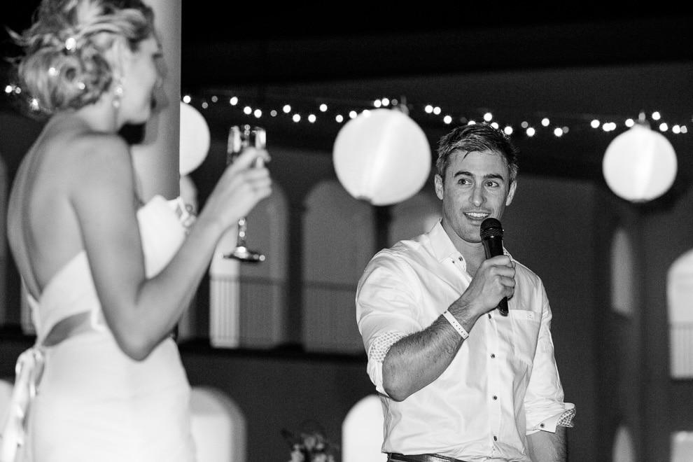 Outdoor speeches at wedding.