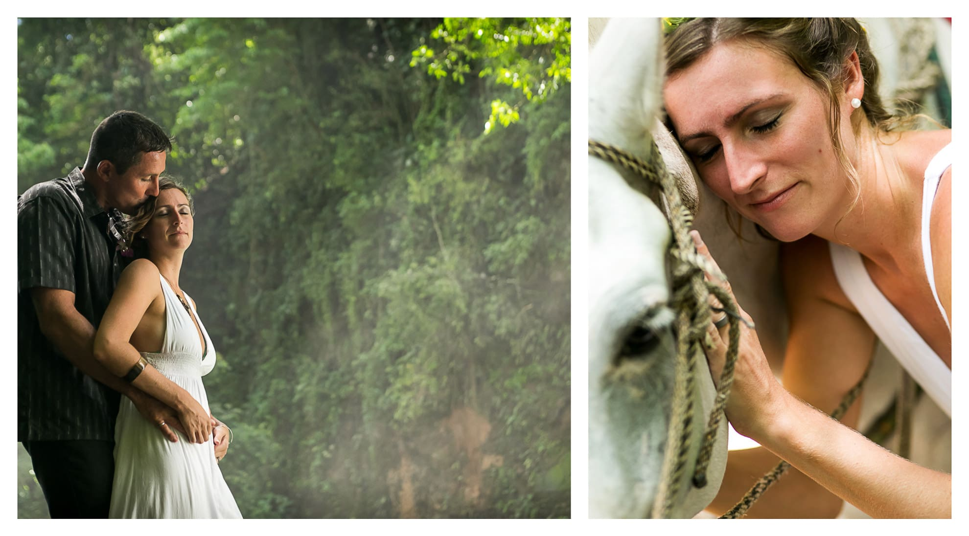 Wedding photos at waterfall in Costa Rica.