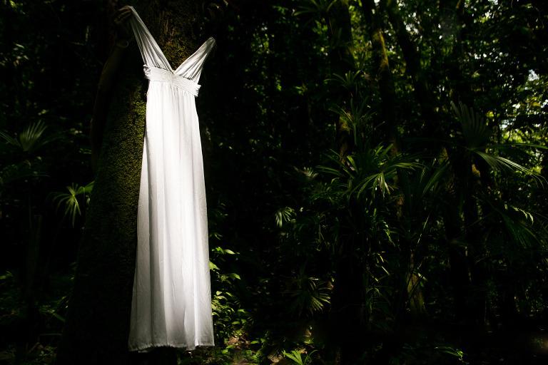 Wedding dress in rainforest