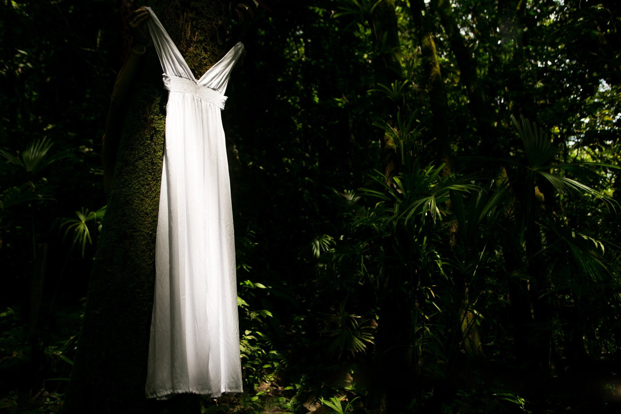 Wedding dress in rainforest