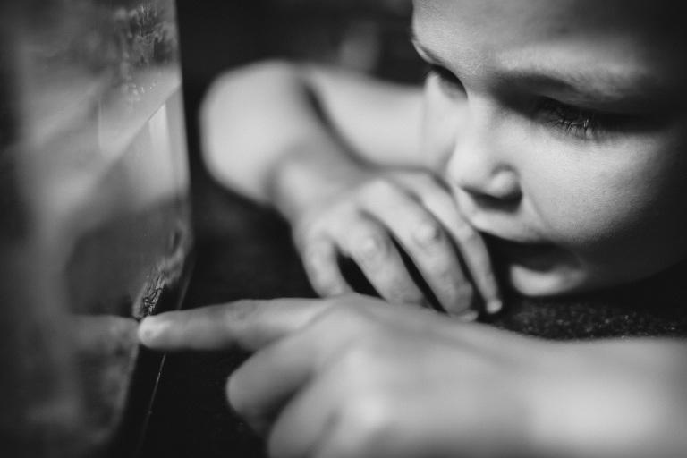child looking at snail in aquarium.