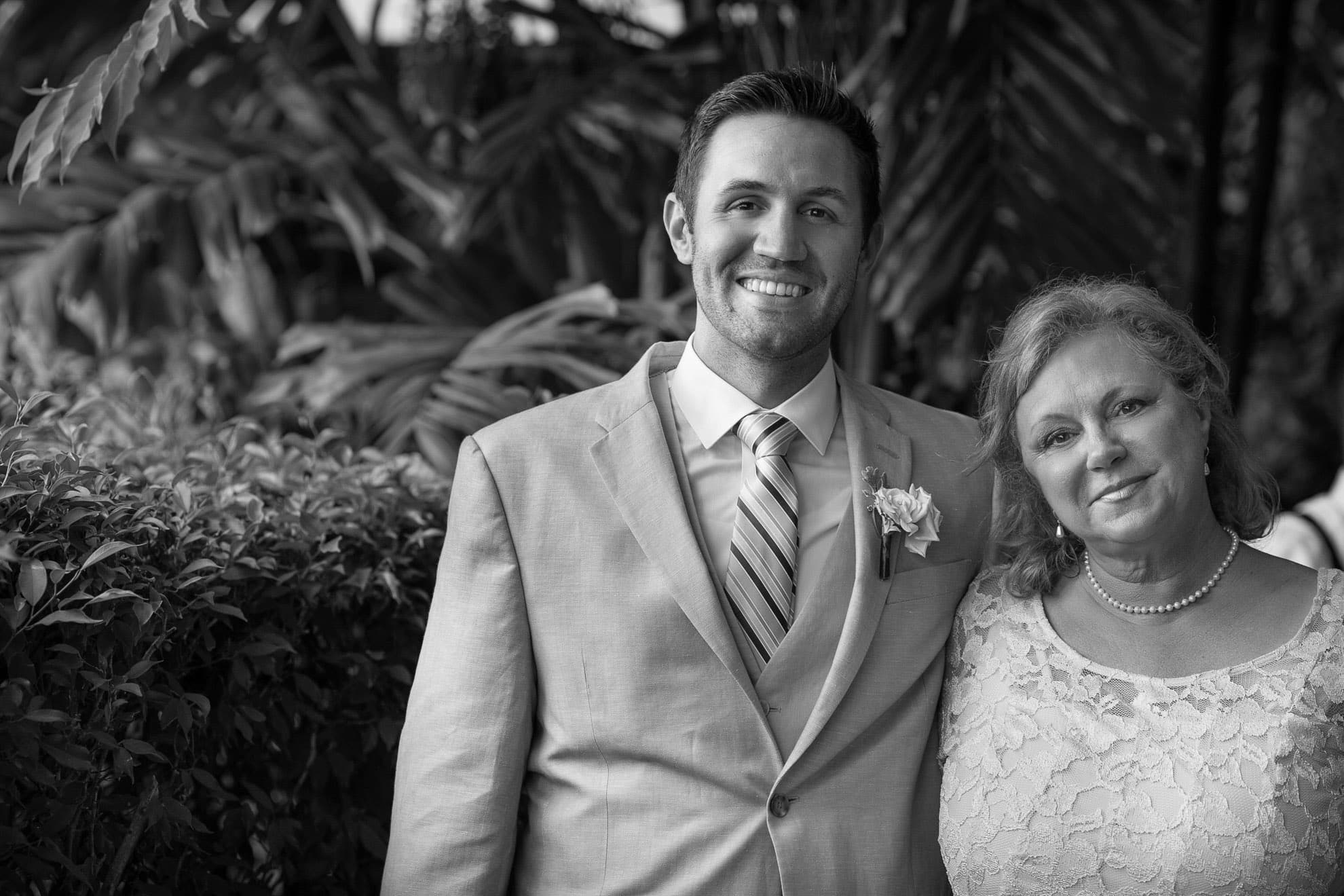 Groom and mother before wedding.