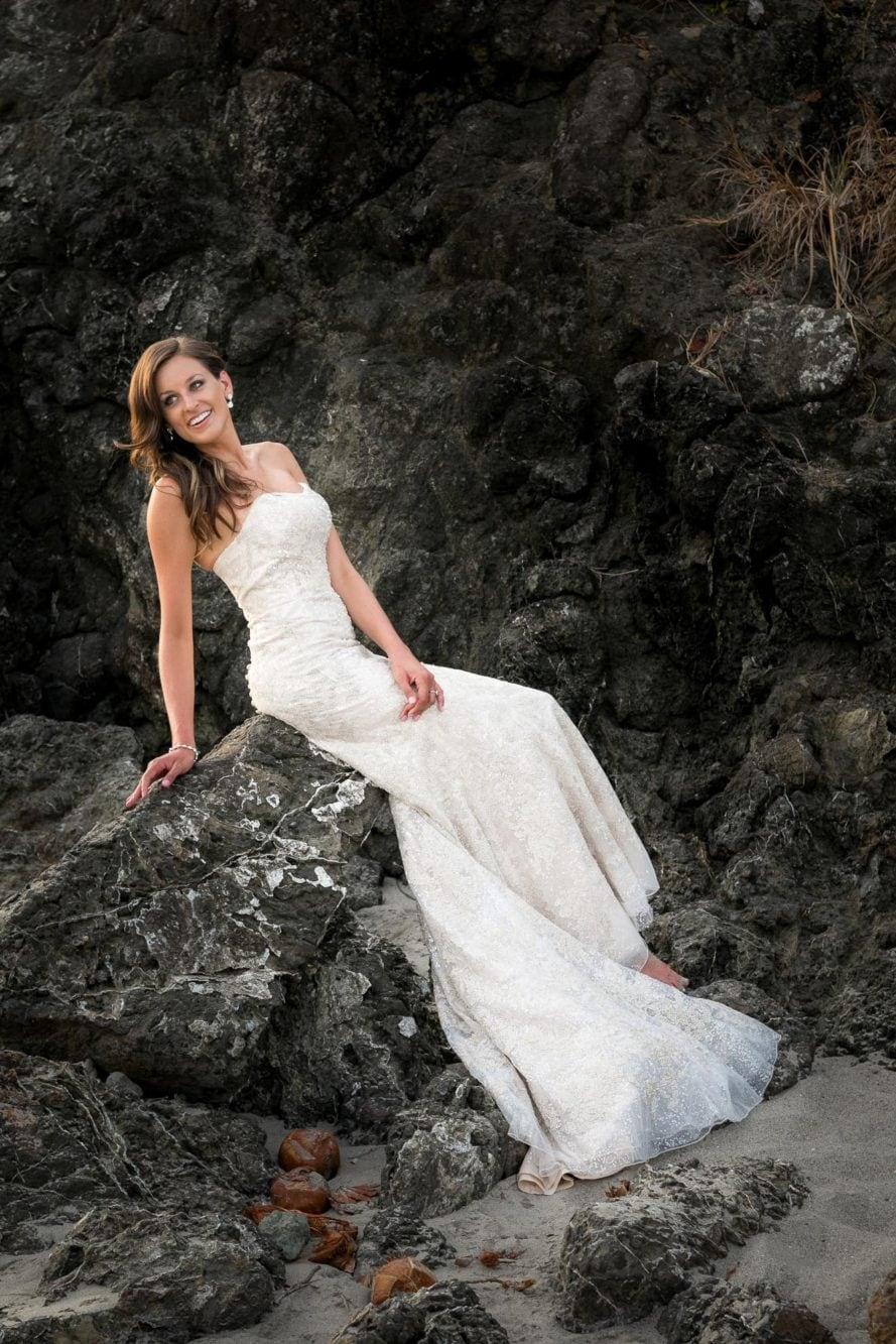 Bride at beach in Manuel Antonio