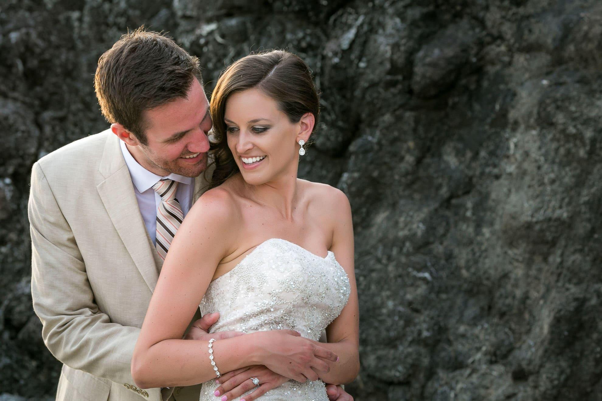 Bride and groom by National Park in Manuel Antonio