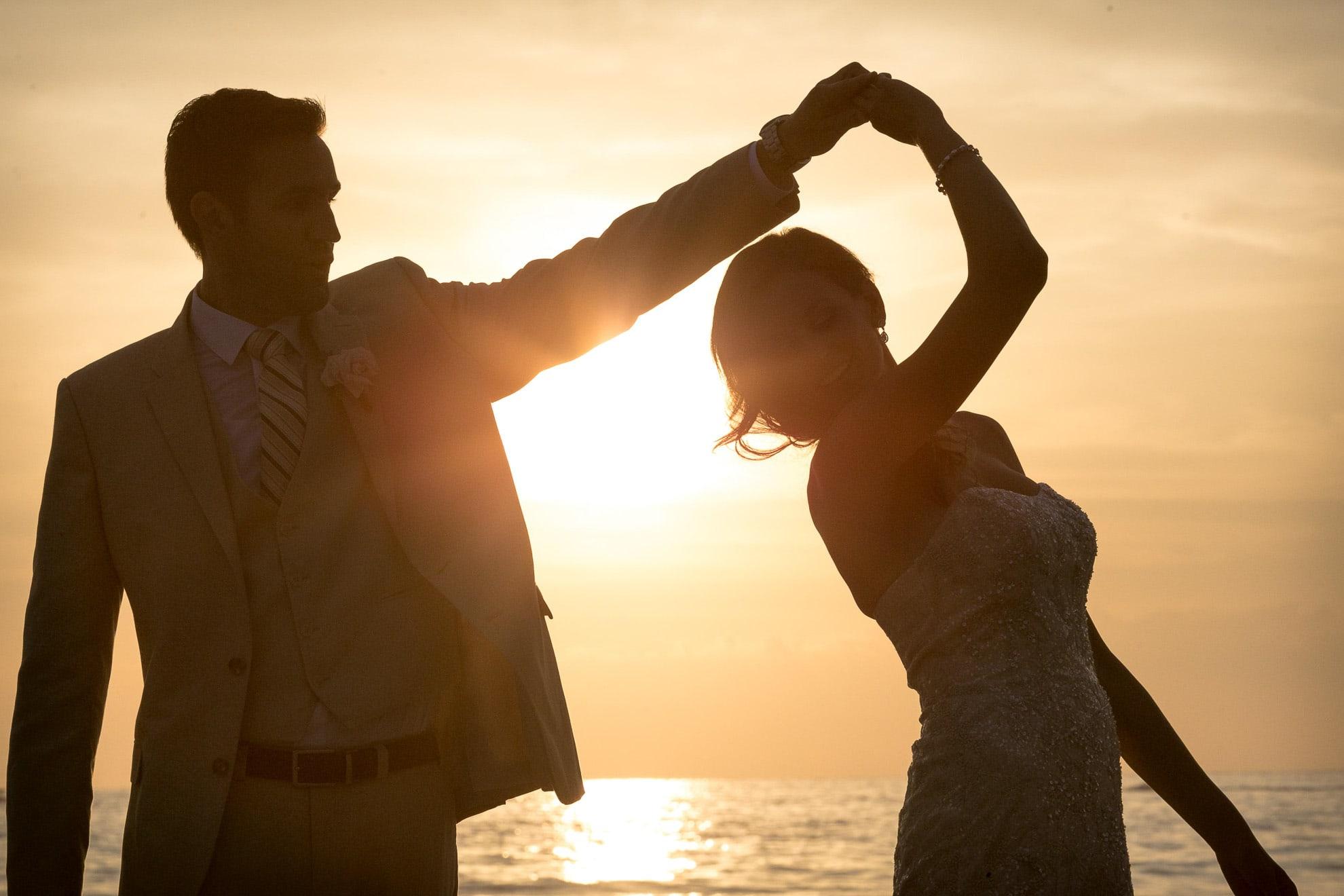 Wedding sunset in Costa Verde