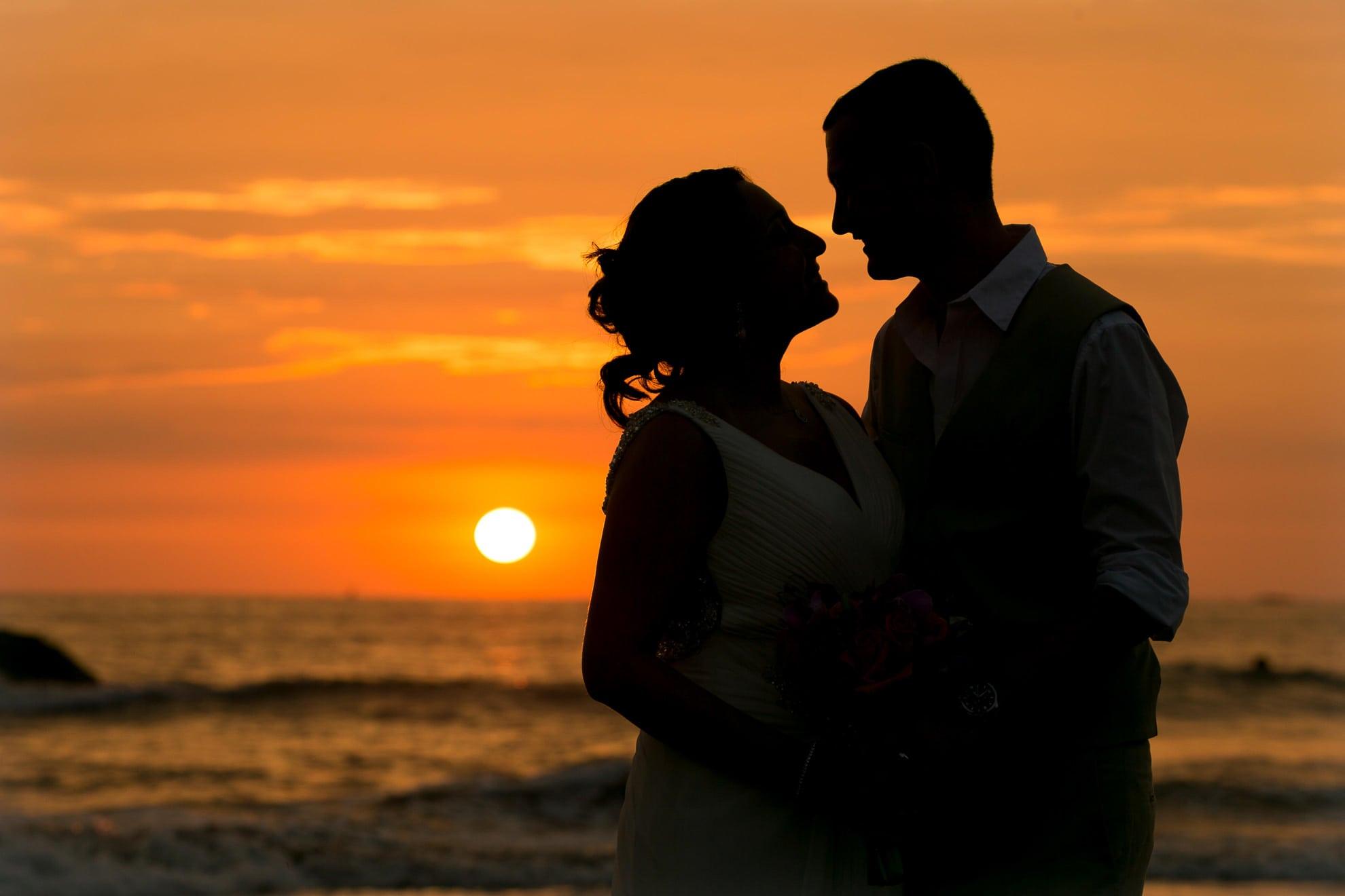 Sunset at wedding in Manuel Antonio