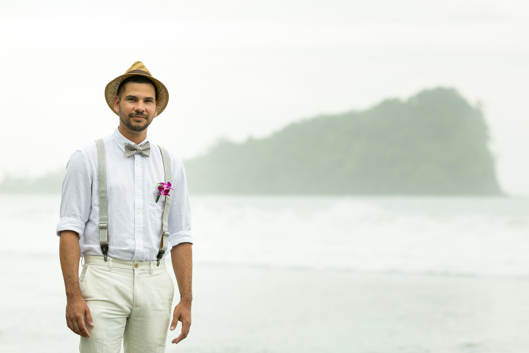 Groom at wedding in Costa Rica