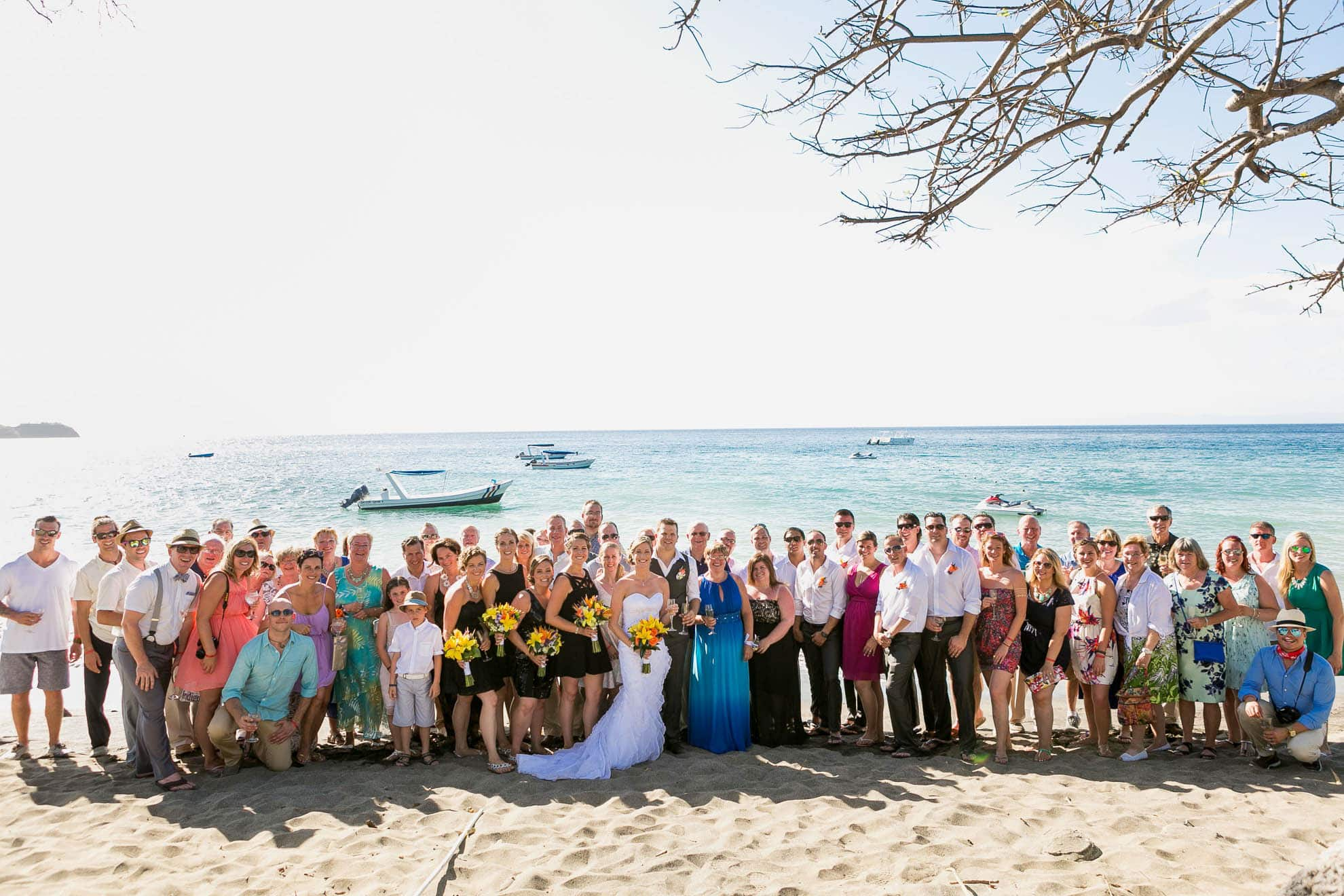Photo of all the guests at a Costa Rica all inclusive wedding