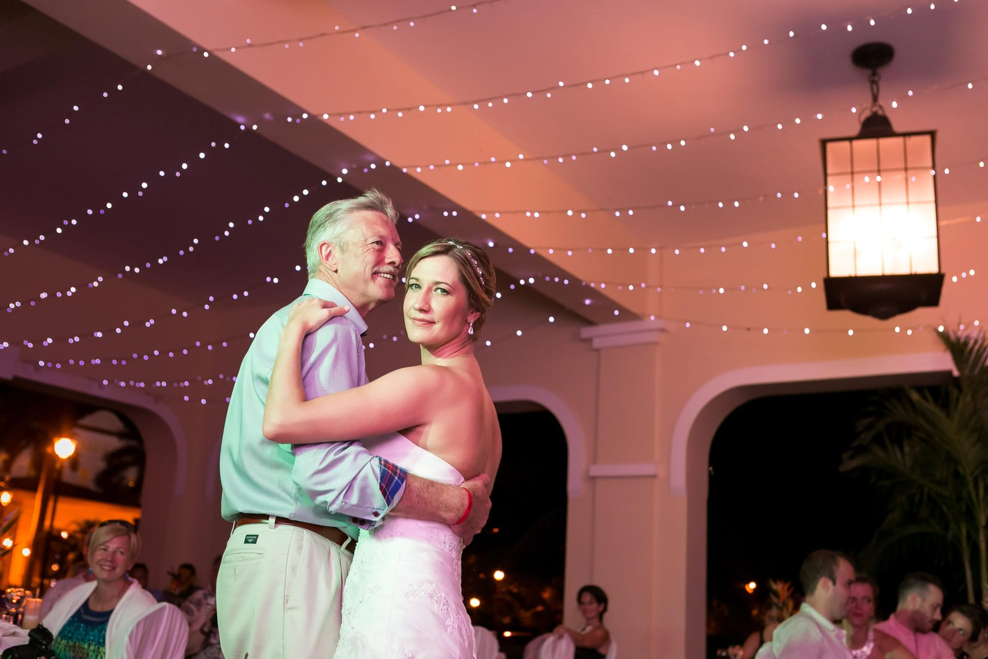 Bride and father dance at Riu Guanacaste, for a Costa Rica all inclusive wedding