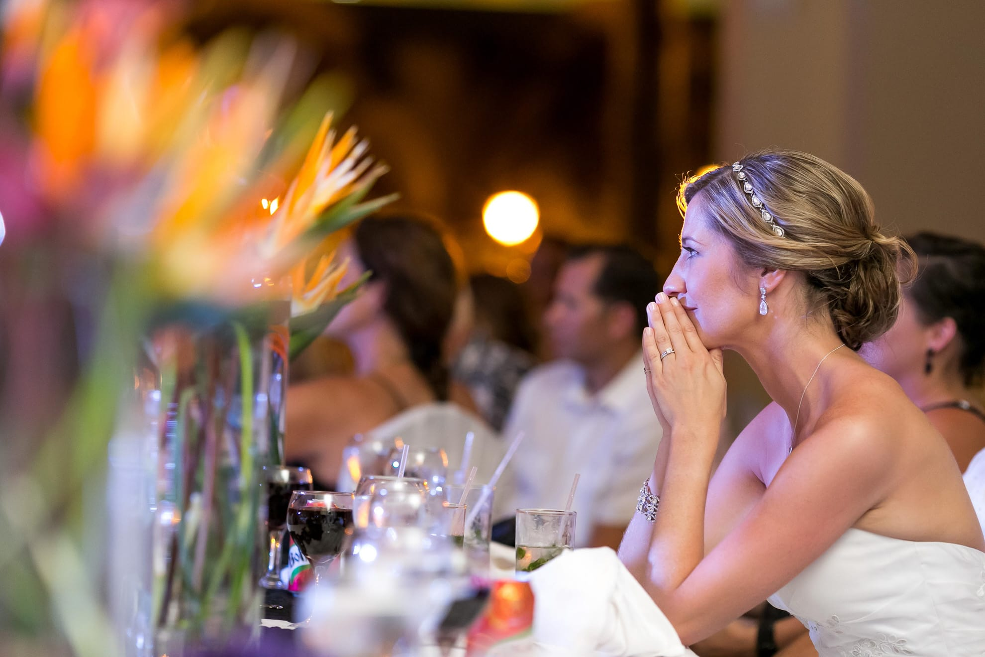 Bride during speeches during reception