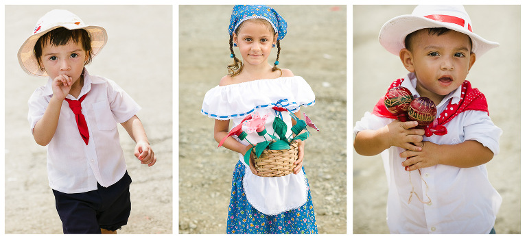 Kids in traditional outfits in Costa Rica
