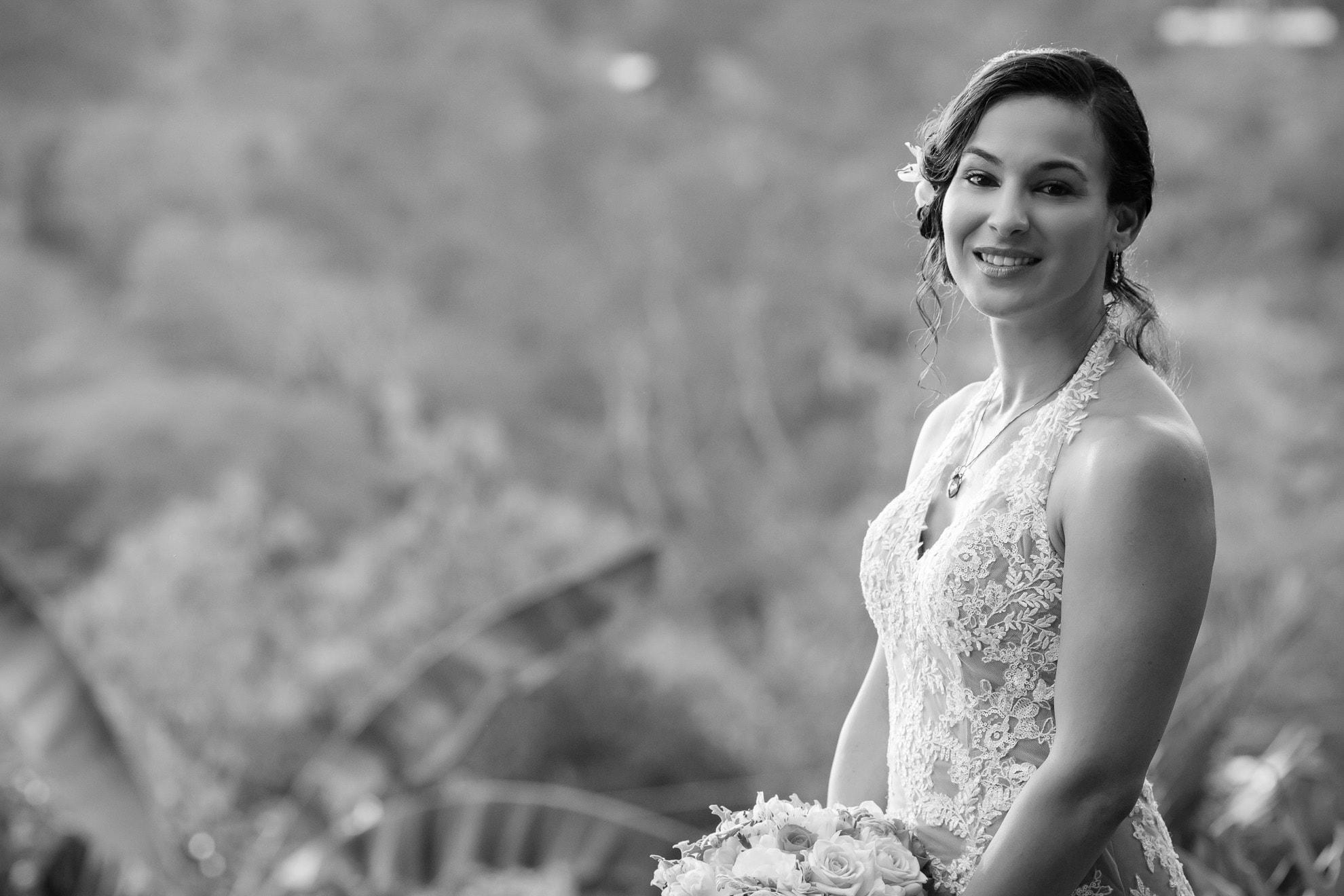 Bride before garden wedding in Costa Rica