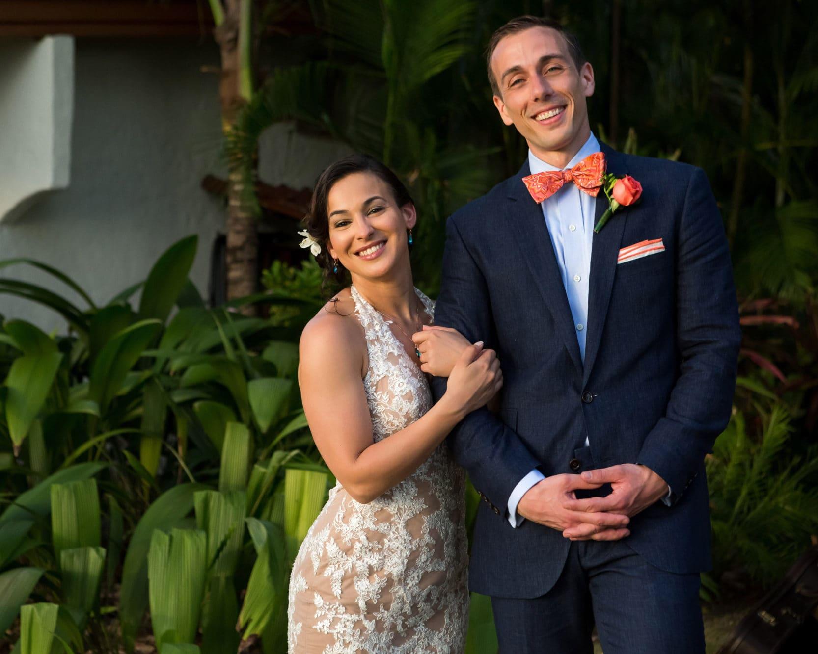 Bride and Groom in Costa Rica before their garden wedding.