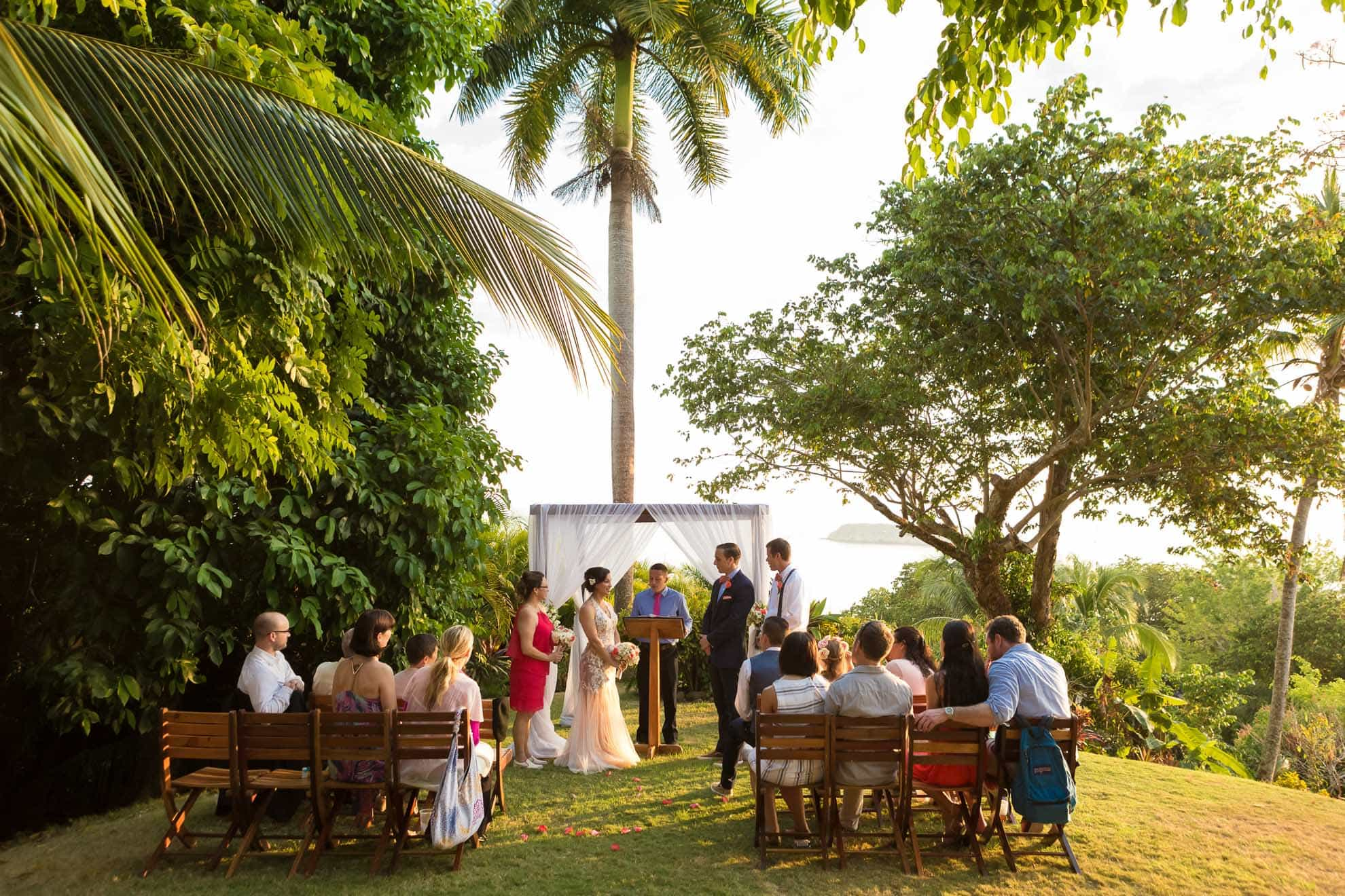 Garden wedding at the grassy knoll in Costa Verde