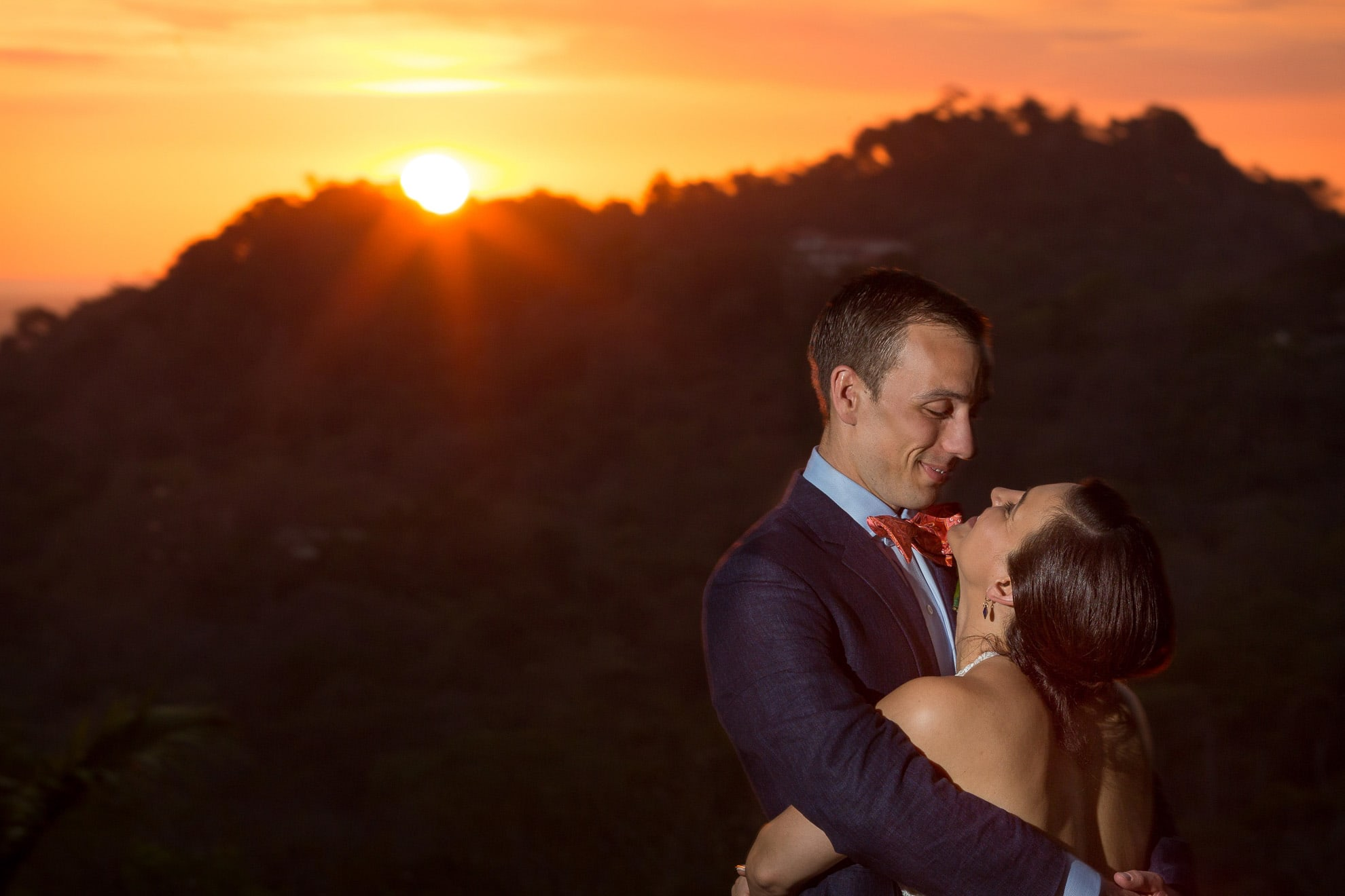 Wedding photo with sunset
