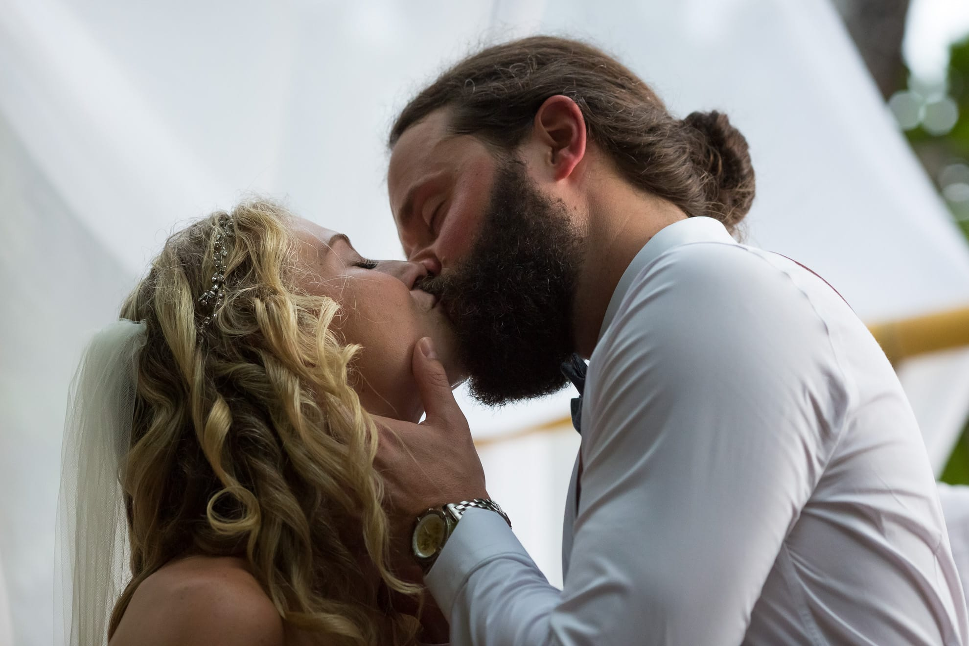 First Kiss at wedding in Costa Rica