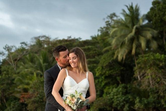 Bride and groom in Playa Uvita