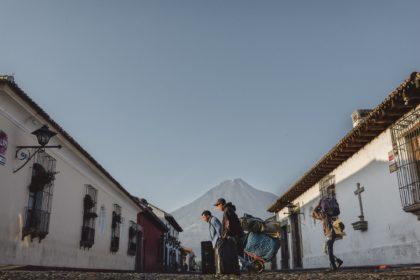 antigua guatemala with volcano