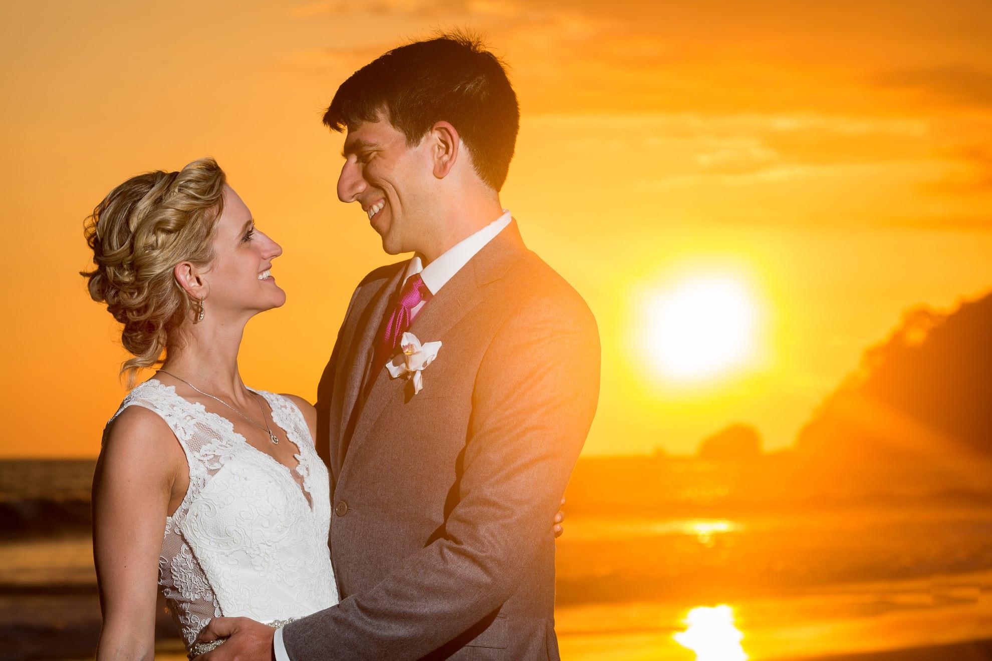 sunset at destination wedding in manuel antonio beach