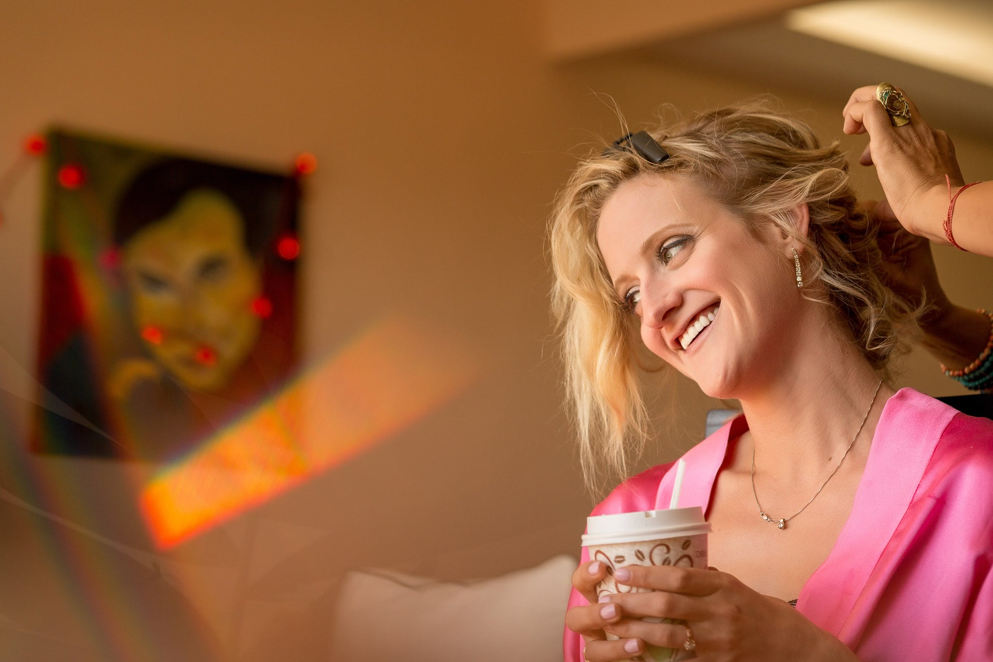 bride with her morning coffee at the Gaia Hotel