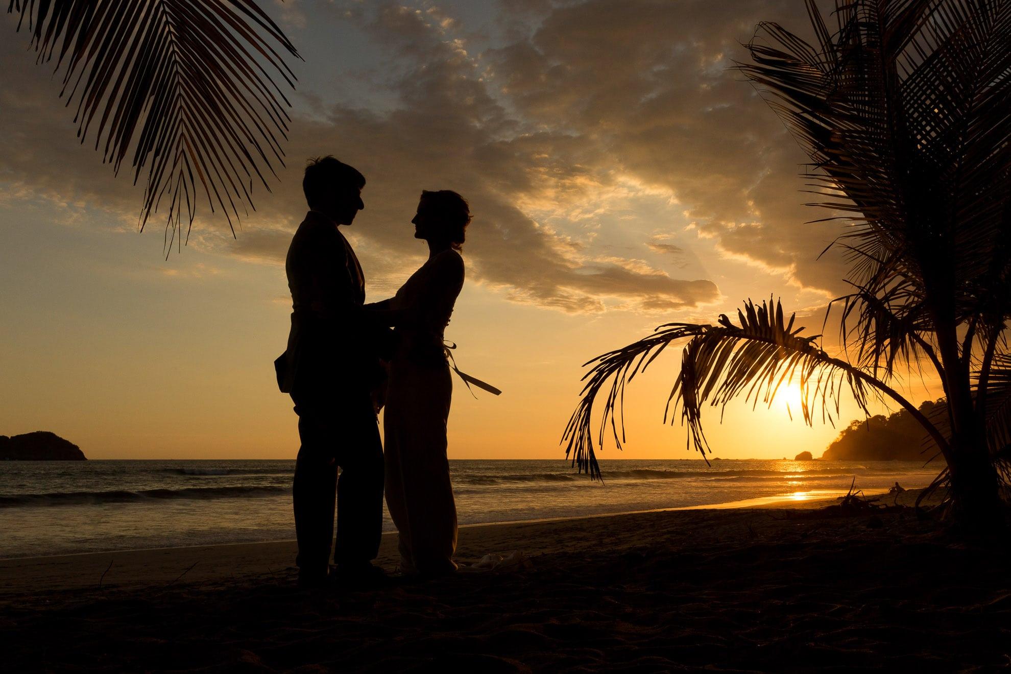 sunset silhouette on manuel antonio beach